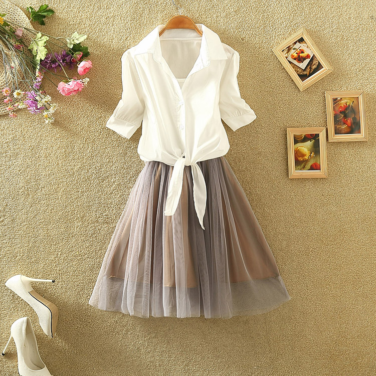 2015夏季新款系腰雪纺上衣欧根纱连衣裙两件套女时尚连衣裙套装潮