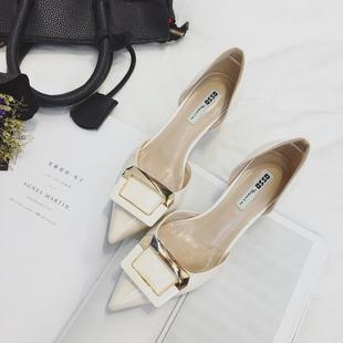 香港潮流 高跟鞋 2017新款方扣尖头女鞋细跟百搭浅口真皮侧空单鞋