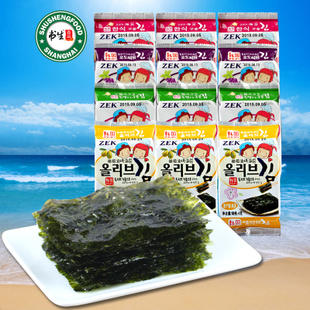 韩国ZEK 橄榄油/竹盐/葡萄籽油烤海苔(3连包) 即食进口零食品特产