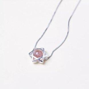 天然水晶纯银六芒星项链