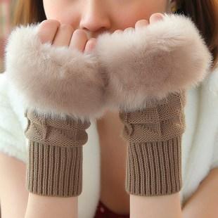 毛线轻薄保暖秋冬长款胳膊套护臂手套半指女手臂套袖套假袖子露指