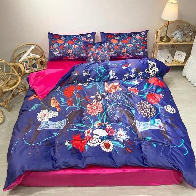 双面宝宝绒四件套加厚保暖花鸟床上用品水晶绒珊瑚绒18m美式田园