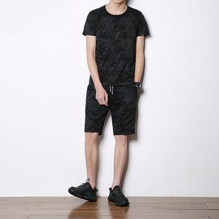 夏季青年男士纯棉迷彩运动套装短袖T恤薄款短裤晨练跑步服男装潮