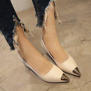 米白色细跟低跟3厘米高跟鞋新款根鞋小跟单鞋女时尚2018春秋40码