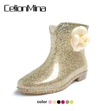 春夏时尚加绒短筒果冻雨鞋高跟雨靴韩版秋冬水靴套鞋胶鞋女士水鞋