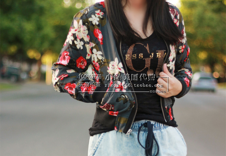 Короткая куртка Abercrombie & fitch  Abercrombie Fitch Af FLORAL BOMBER JACKET