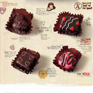 东西在场 甜心 巧克力 树脂 冰箱贴 黑板贴 磁贴 一盒6个