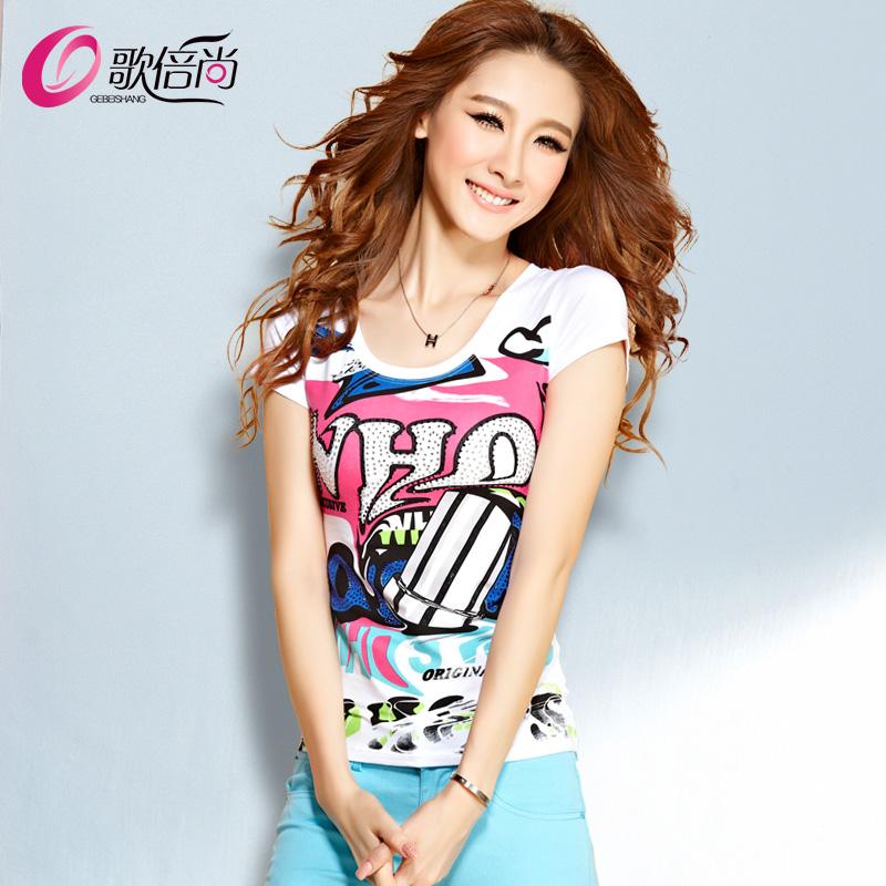 2015春夏季新款女装韩版修身烫钻印花半袖体恤纯棉白色短袖t恤女