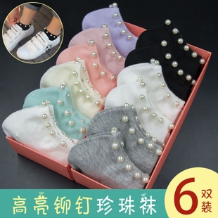珍珠袜子女韩国短袜铆钉纯棉春夏季黑白珠珠袜短筒浅口可爱船袜女
