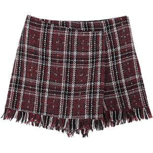 拉夏贝尔格子短裙女士2018冬季新款高腰打底a字裙显瘦时尚半身裙