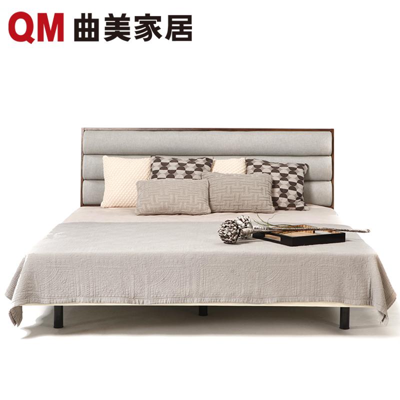 曲美家具双人板木床B6A