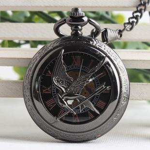 复古作旧机械怀表 饥饿游戏嘲笑鸟 镂空钨钢罗马字男女怀表 手表