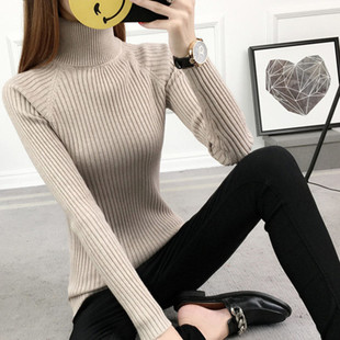秋冬新款短款女高领毛衣打底衫长袖套头加厚修身白色紧身针织冬