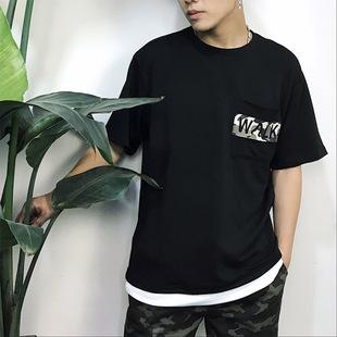 夏季男装新款男士T恤 迷彩圆领宽松半袖韩版时尚打底衫薄款男短袖
