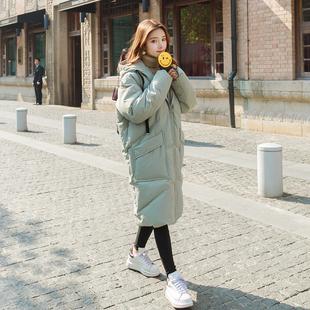 软妹冬季外套女加厚学院风中长款连帽甜美宽松bf韩版百搭保暖棉服