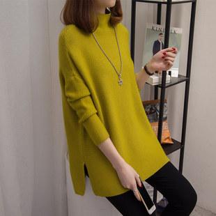 高领毛衣女2019新款秋冬宽松打底衫韩版套头长袖针织衫中长款毛衣