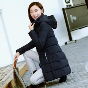 修身女士棉袄中长款棉服女2018新款女装大码冬季外套连帽时尚棉衣