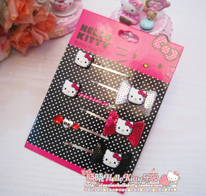 Заколки Hello kitty  Sanrio меховые наушники sanrio hello kitty