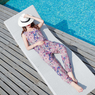泰国棉绸两件套花灯笼裤背心女装夏韩版薄款海边度假沙滩时尚套装