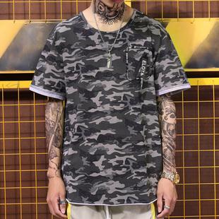 51嘻哈欧美街头潮流迷彩军事风男女街舞手袖折边宽松短袖圆弧T恤