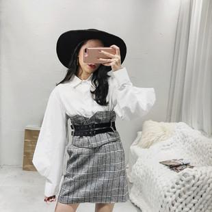 衬衫裙子港味两件套甜美2018新款春装时尚娇小女装时髦套装裙女冬