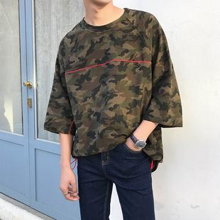 韩版纯棉宽松迷彩半袖七分袖短袖T恤男夏季圆领7分中袖体恤衫男装