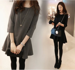 韓版春秋新款女裝寬松七分袖連衣裙大碼修身顯瘦中長款打底小黑裙