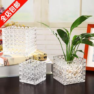 时尚透明水晶玻璃花瓶 方形花盆 水培绿植花卉专用瓶 晶莹剔透