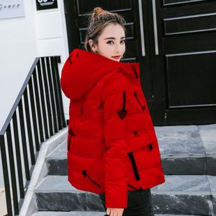 羽绒服女厚款短款 2018冬装新款韩版连帽修身红色印花羽绒服女