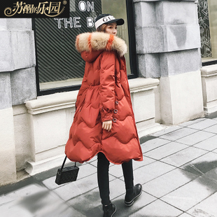 羽绒服女中长款2017冬装新款韩版潮修身显瘦收腰彩色大毛领焦糖色