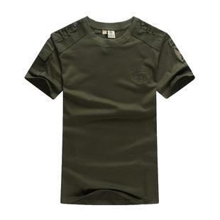 包邮夏季户外休闲军迷短袖t恤男士宽松迷彩服战术军装圆领短袖T恤