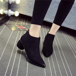 通勤气质百搭女鞋粗跟尖头磨砂短靴后拉链光面中跟及裸靴子女秋冬