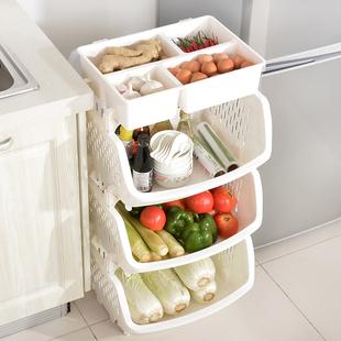 百露带储物盒厨房置物架储物架收纳架加厚款可放置干货蔬菜置物架