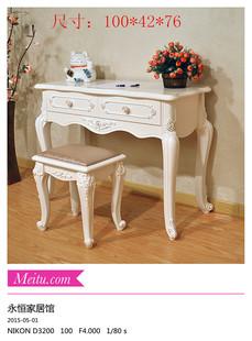 现代实木欧式田园写字台小书桌简约儿童电脑桌梳妆桌象牙白色特价
