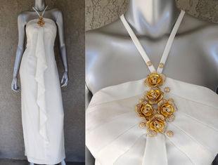 金与火 Sold Vintage孤品 金色玫瑰绽放 精致优雅古董挂脖连衣裙