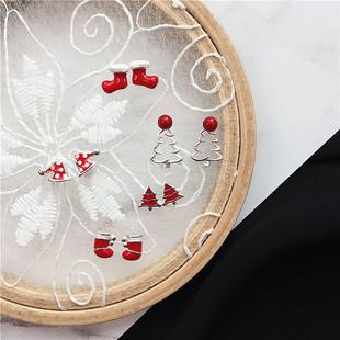 [为晚]s925纯银耳钉女韩国可爱树袜子帽子滴釉红色圣诞节饰品礼物