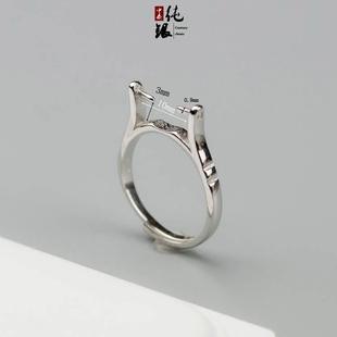 桶珠长珠串珠通孔s925纯银戒指托空托可旋转可镶绿松等银托10mm