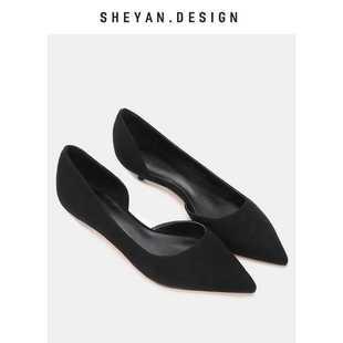 职业侧空高跟鞋 2018夏季低矮跟女尖头细跟黑色绒面单鞋工作鞋3cm