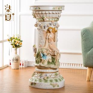 客厅欧式罗马柱花盆摆件家居装饰工艺品大型落地花架底座橱窗摆设