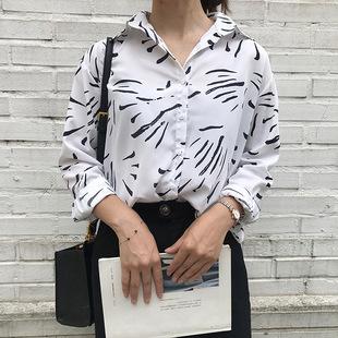 2018秋季新款韩国复古印花长袖雪纺衬衫女宽松百搭花花衬衣藏蓝色