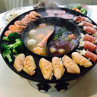 烧烤炉家用电无烟电烤盘韩式烤肉机涮烤火锅烧烤一体锅家用烤肉锅