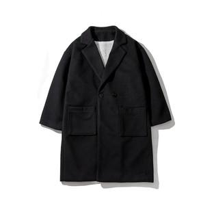 冬季韩版休闲情侣装中长款加绒风衣男士加厚宽松毛呢子大衣外套潮