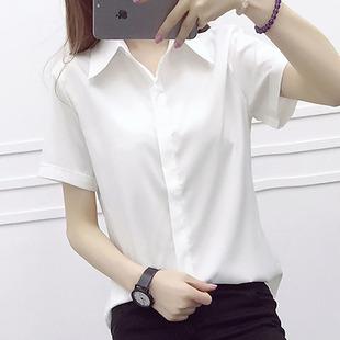 白衬衫女夏短袖 职业装韩版修身休闲百搭大码工装学生衬衣ol上衣