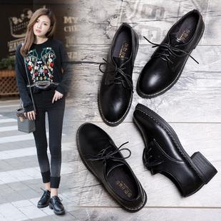 韩版春秋季平底跟黑色小皮鞋女工作职业正装系带休闲学生百搭单鞋