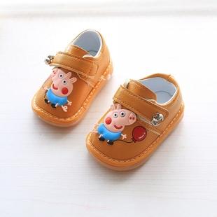 春秋宝宝学步鞋1-3岁2男童皮鞋软底防滑女宝宝鞋子婴儿包头叫叫鞋