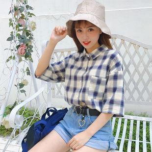 女生格子衬衫短袖宽松韩版学生bf复古韩国ulzzang可爱小清新百搭