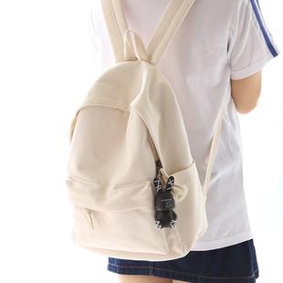 NR诺然新品 纯色帆布书包女双肩包休闲百搭小清新中学生双肩背包