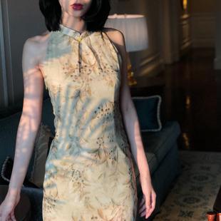 Srose 小香风复古改良旗袍式连衣裙侧开叉休闲女露肩显瘦中国风