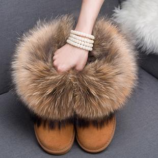 皮毛一体狐狸毛雪地靴女真皮低短筒牛皮雪地靴貉子毛内增高短靴