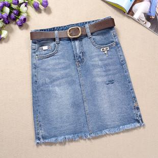 半身裙高腰女夏19柔软弹力牛仔裙短裙a字型开叉包臀裙一步裙显瘦